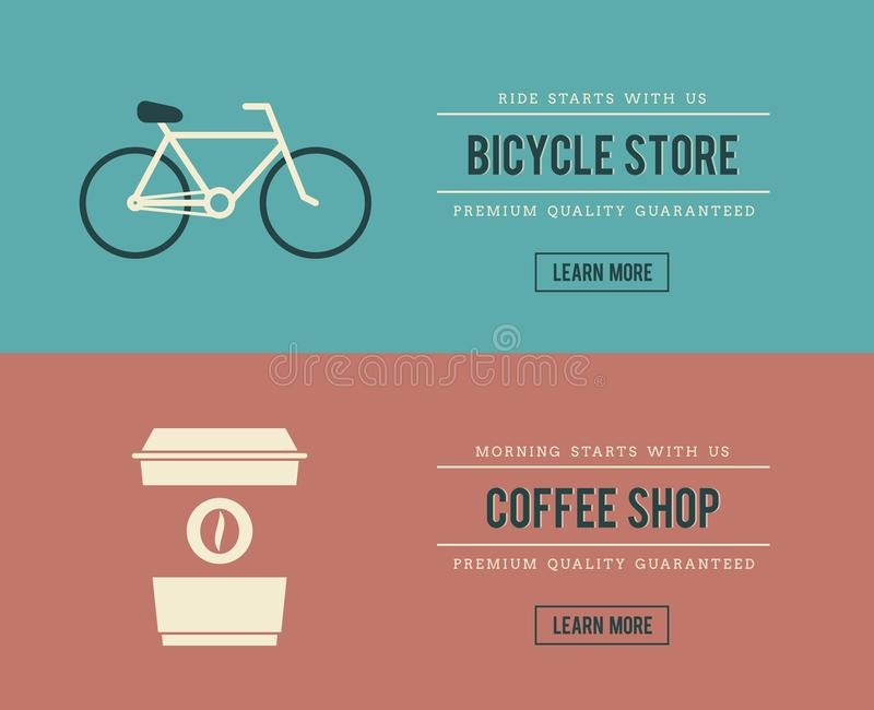 Bannières de magasin de cycles et de café illustration stock