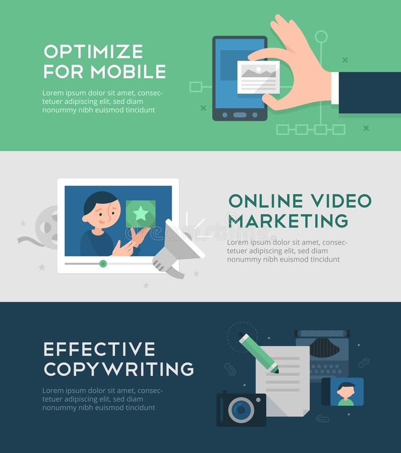 Bannières de marketing en ligne et de conversion illustration de vecteur