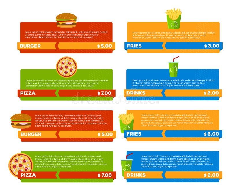 Bannières de menu d'aliments de préparation rapide illustration de vecteur