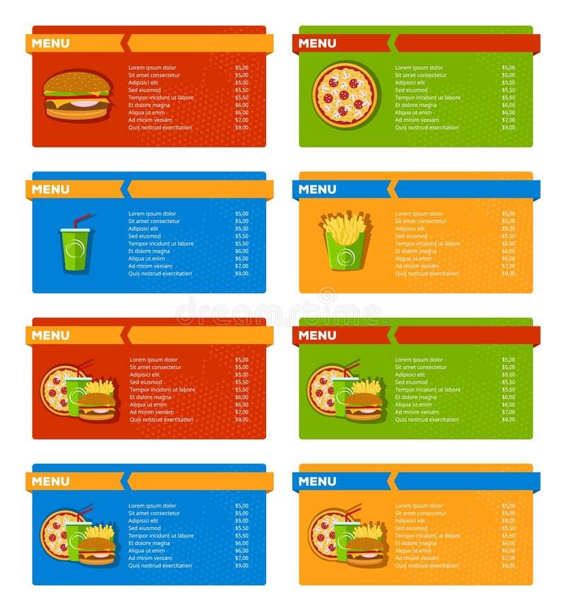 Bannières de menu d'aliments de préparation rapide illustration libre de droits