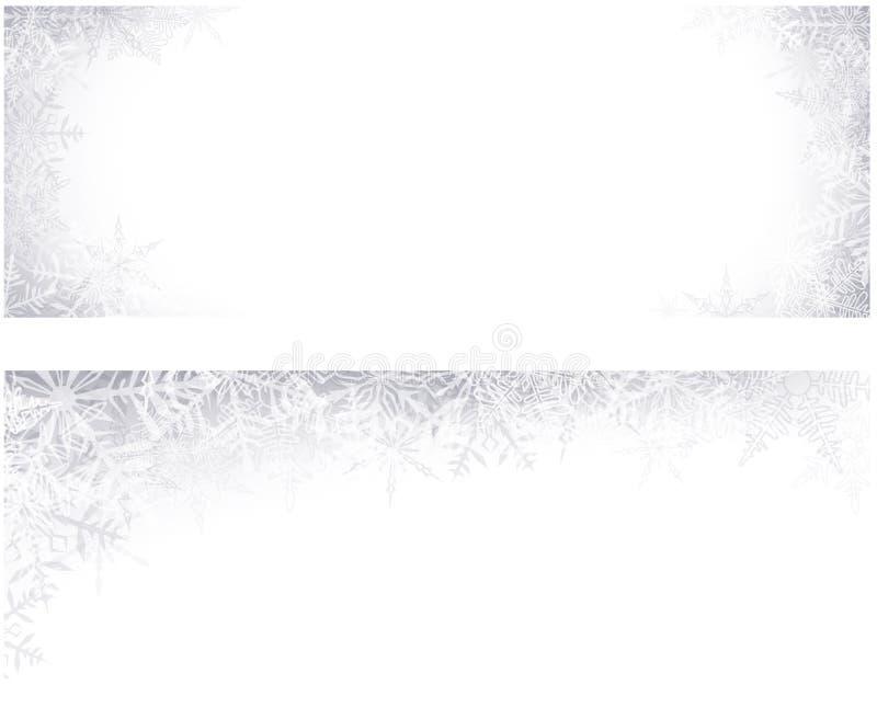 Bannières de Noël avec les flocons de neige crystallic. illustration stock