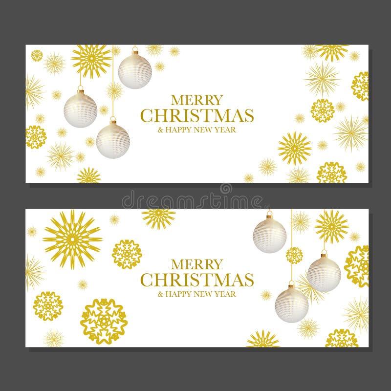 Bannières de Noël avec les flocons de neige d'or illustration libre de droits
