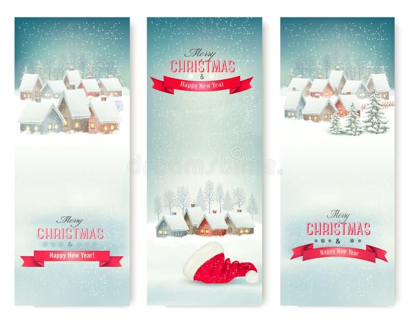 Bannières de Noël de vacances avec des villages illustration libre de droits