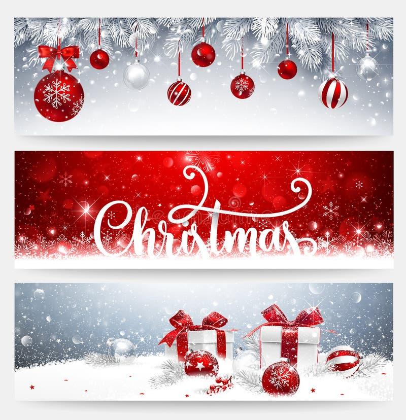 Bannières de Noël réglées avec des boules et des cadeaux illustration de vecteur