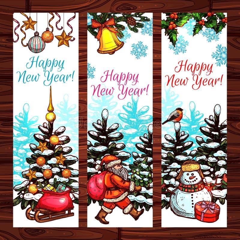Bannières de nouvelle année sur le fond en bois illustration stock