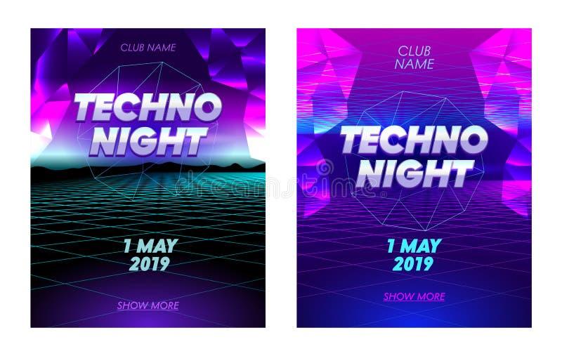 Bannières de nuit de techno réglées avec la typographie, fond futuriste de grille au néon de Synthwave avec bas poly Triangulars illustration de vecteur