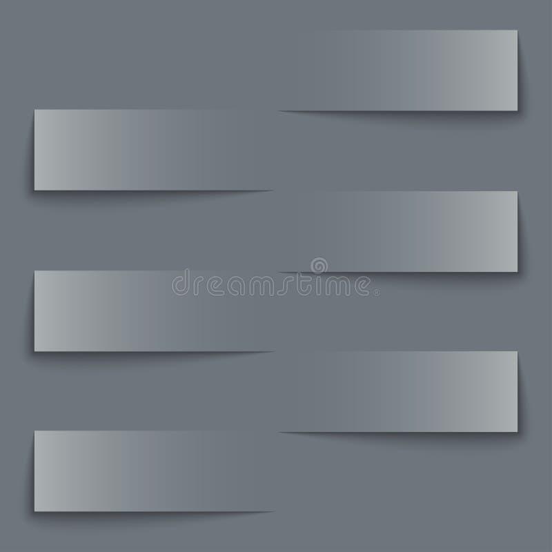 Bannières de papier blanc avec le fond d'ombres illustration stock