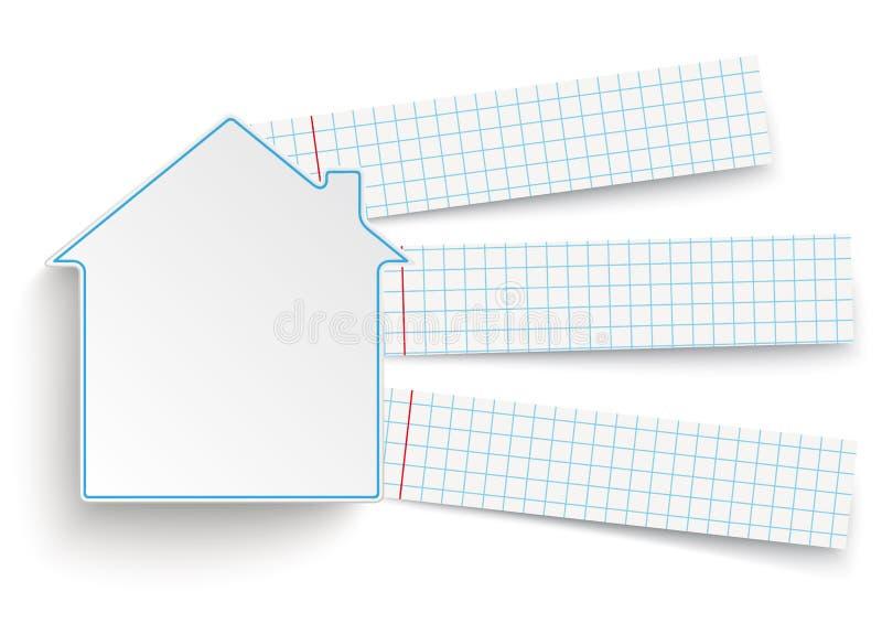 Bannières de papier vérifiées par construction de logements illustration stock