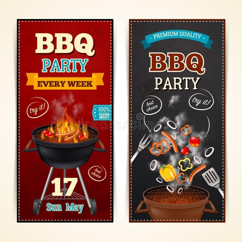 Bannières de partie de barbecue réglées illustration stock