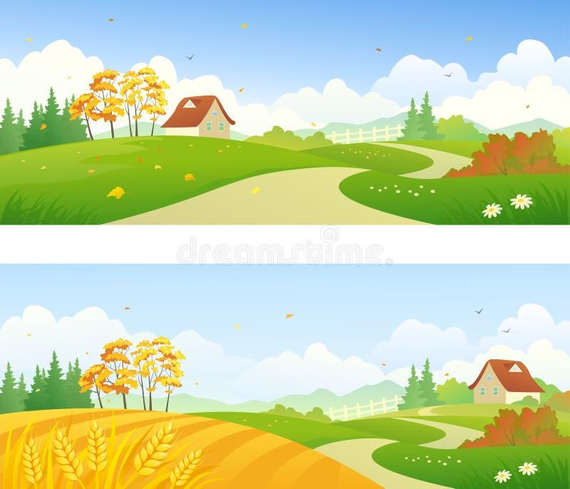 Bannières de pays d'automne illustration de vecteur