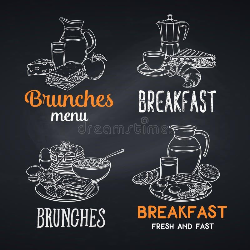 Bannières de petit déjeuner, style de tableau illustration de vecteur