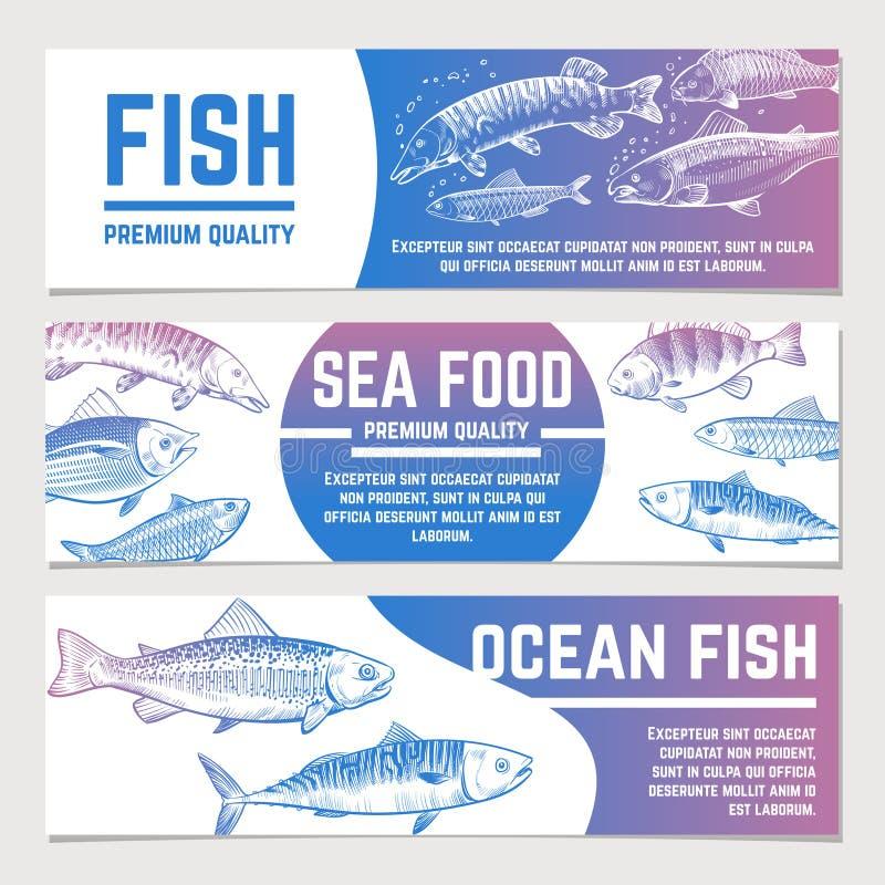 Bannières de poissons Le croquis de rivière et d'océan pêche des labels de vecteur d'emballage de fruits de mer illustration de vecteur