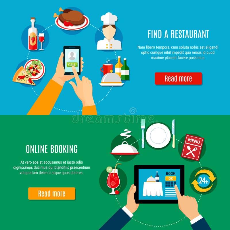 Bannières de réservation de restaurant illustration libre de droits
