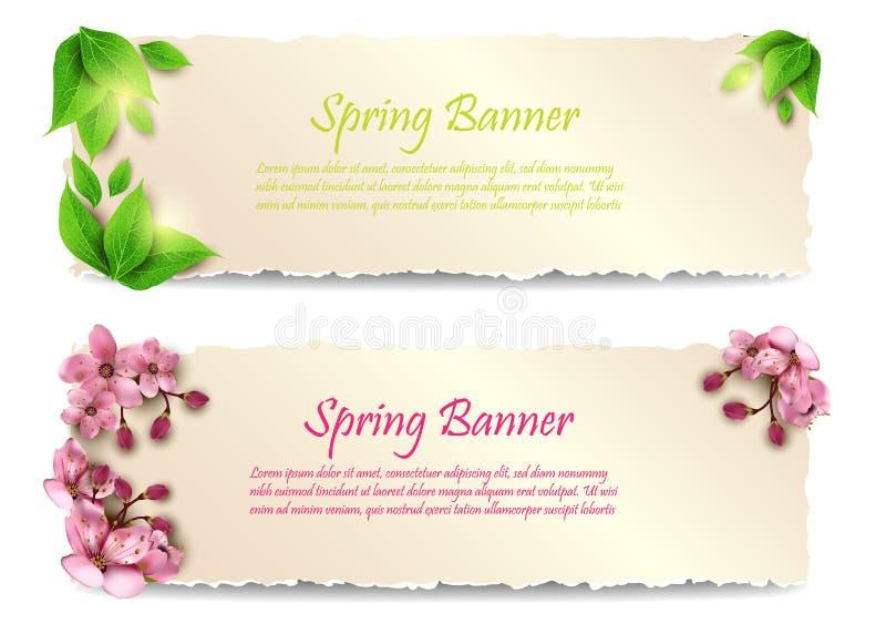 Bannières de ressort avec des feuilles et des fleurs Vecteur illustration de vecteur