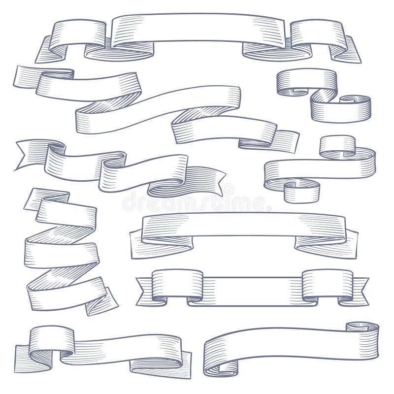 Bannières de ruban de croquis Drapeaux tirés par la main décoratifs de cru, rubans héraldiques Le remous de griffonnage met en ro illustration libre de droits
