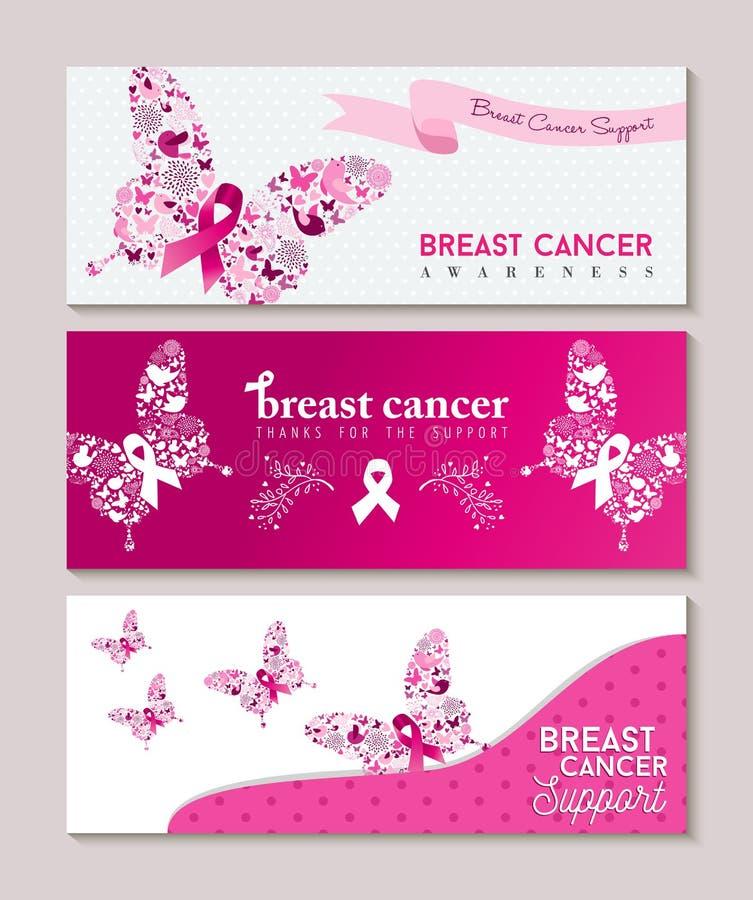 Bannières de ruban de papillon de conscience de cancer du sein illustration libre de droits