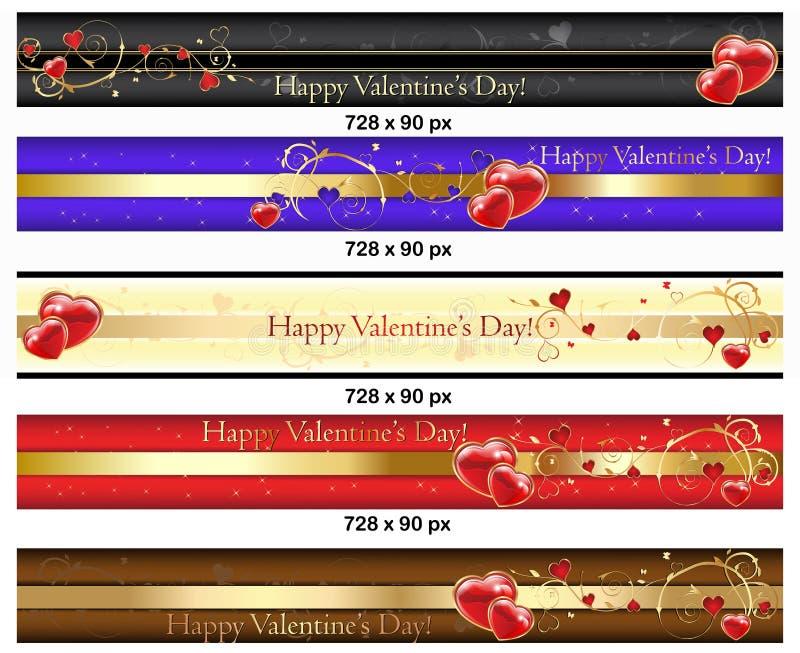 Bannières de Saint-Valentin de Leaderboard illustration libre de droits
