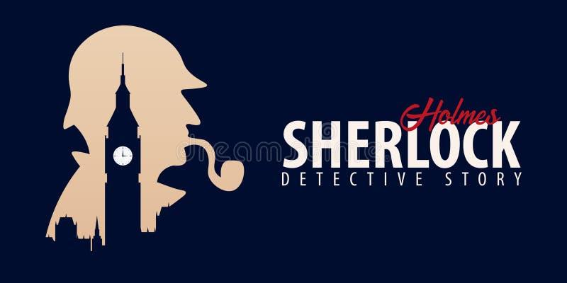 Bannières de Sherlock Holmes Illustration révélatrice Illustration avec Sherlock Holmes Rue 221B de Baker Londres GRANDE INTERDIC illustration stock
