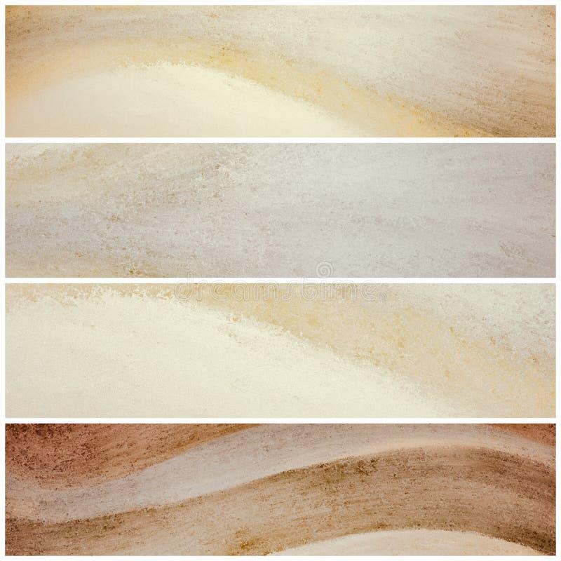 Bannières de site Web de couleur ou rayures naturelles onduleuses, conception de l'industrie graphique dans brun et beige neutres photos stock