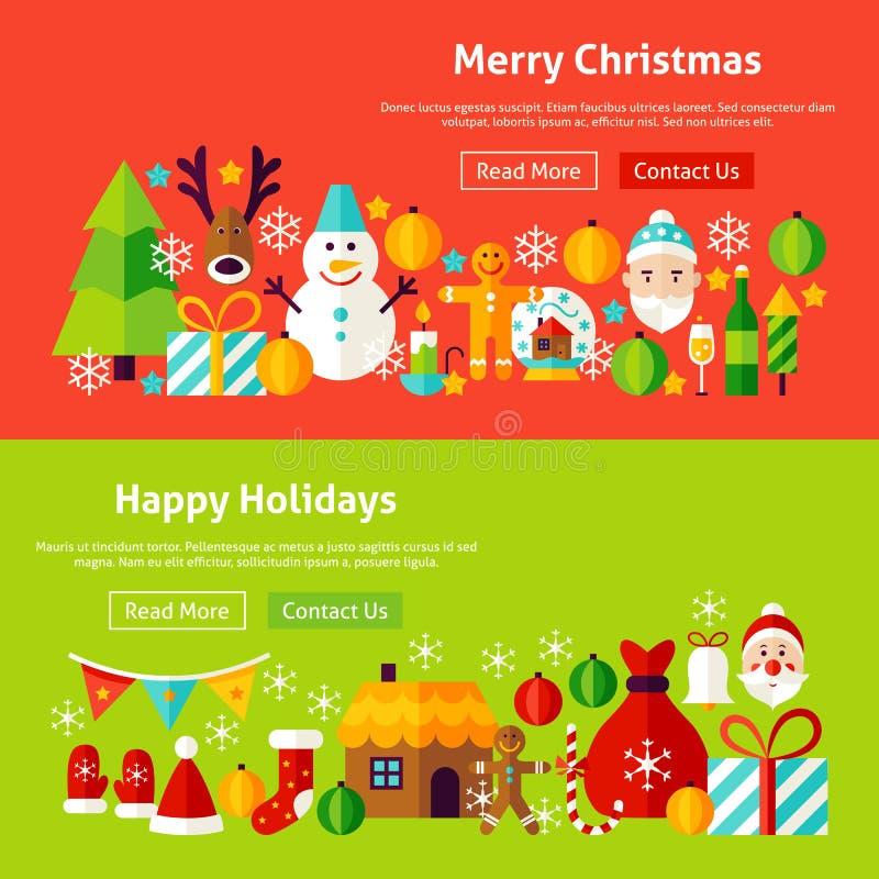 Bannières de site Web de Joyeux Noël illustration de vecteur