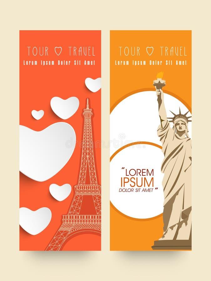 Bannières de site Web pour la visite et les voyages illustration libre de droits