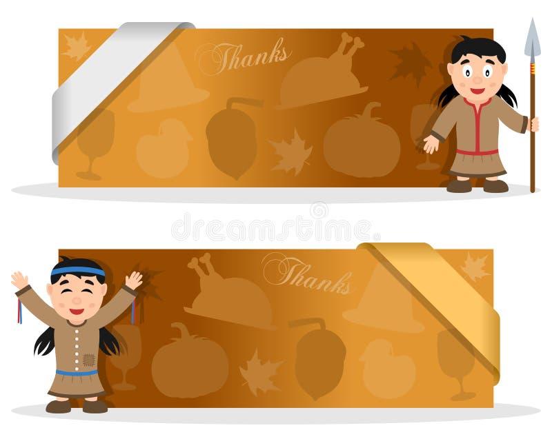 Bannières de thanksgiving avec la femme indigène illustration de vecteur