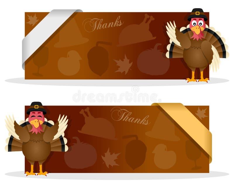 Bannières de thanksgiving avec la Turquie illustration de vecteur