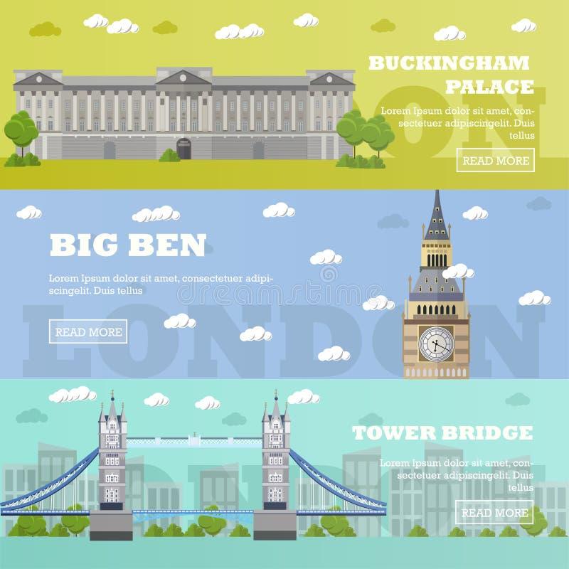 Bannières de touristes de point de repère de Londres Illustration de vecteur avec les bâtiments célèbres Pont, Big Ben et Bucking illustration libre de droits