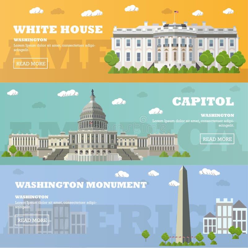Bannières de touristes de point de repère de Washington DC Illustration de vecteur Capitol, la Maison Blanche  illustration stock