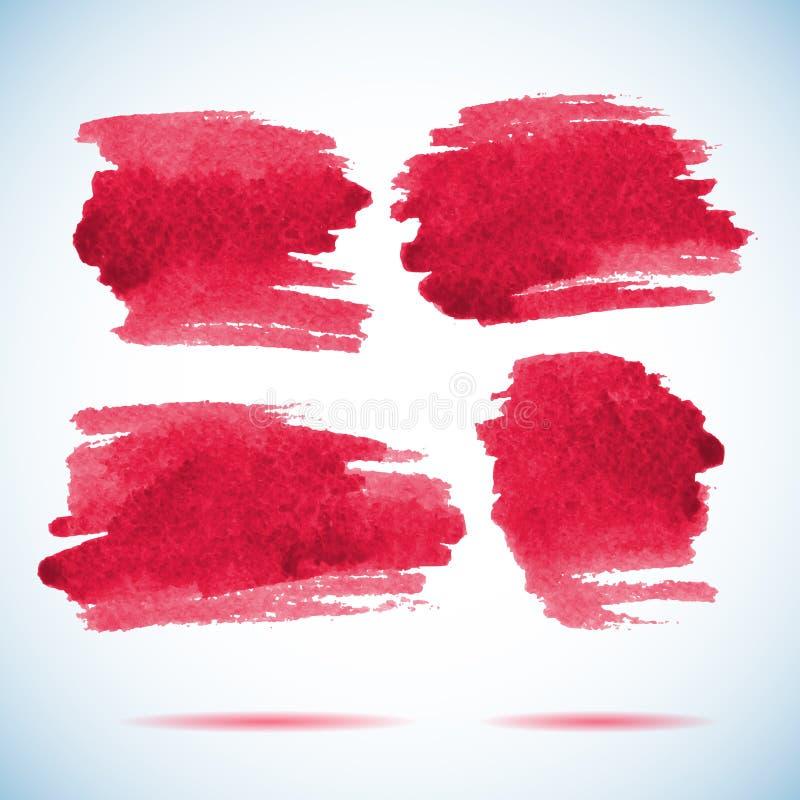 Bannières de traçage Tache rouge d'aquarelle d'encre illustration libre de droits