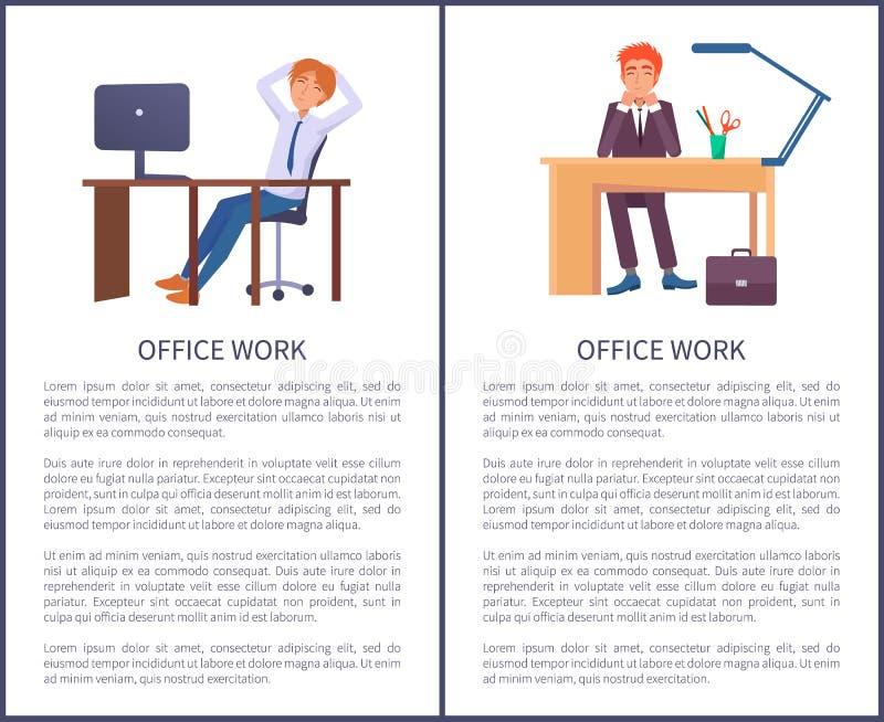 Bannières de travail de bureau rêvant des mâles s'asseyant au travail illustration stock