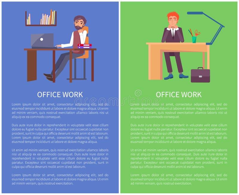 Bannières de travail de bureau rêvant des mâles s'asseyant au travail illustration libre de droits