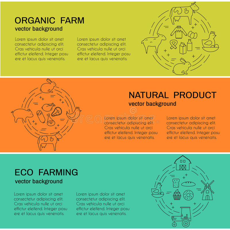 Bannières de vecteur avec des produits d'agriculture et d'eco illustration libre de droits
