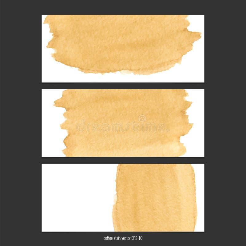 Bannières de vecteur avec l'aquarelle de tache de café illustration de vecteur