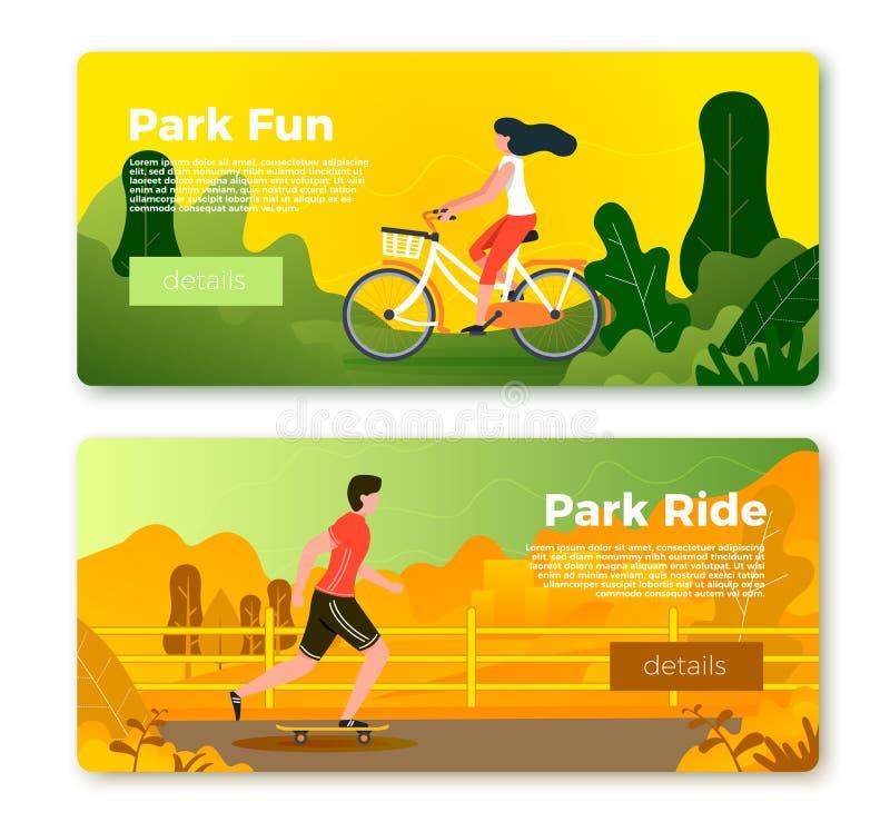 Bannières de vecteur avec l'homme et la fille de roulement sur le vélo illustration libre de droits