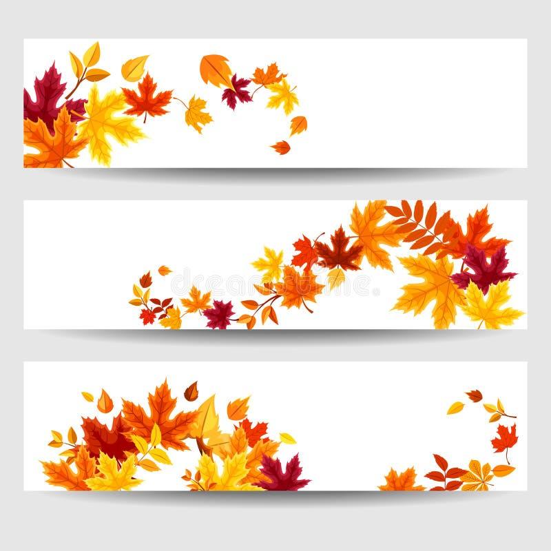 Bannières de vecteur avec les feuilles d'automne colorées illustration stock