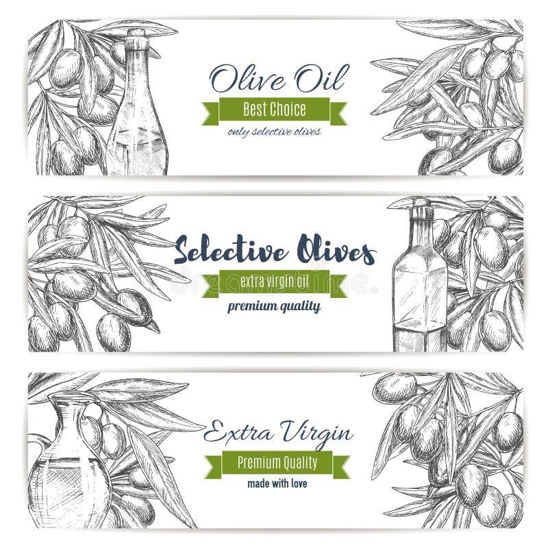 Bannières de vecteur d'huile d'olive des olives de croquis illustration de vecteur