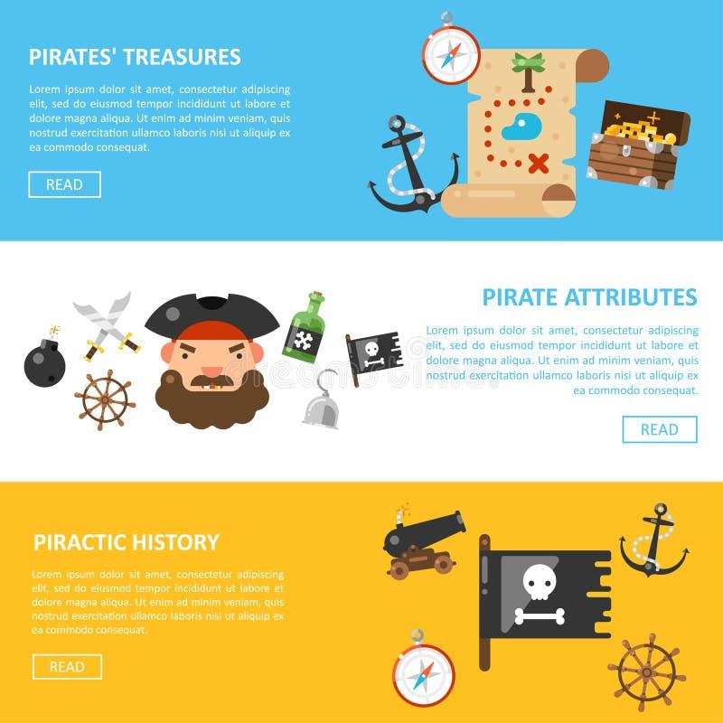 Bannières de vecteur de trésors de pirate et d'aventures de mer illustration de vecteur