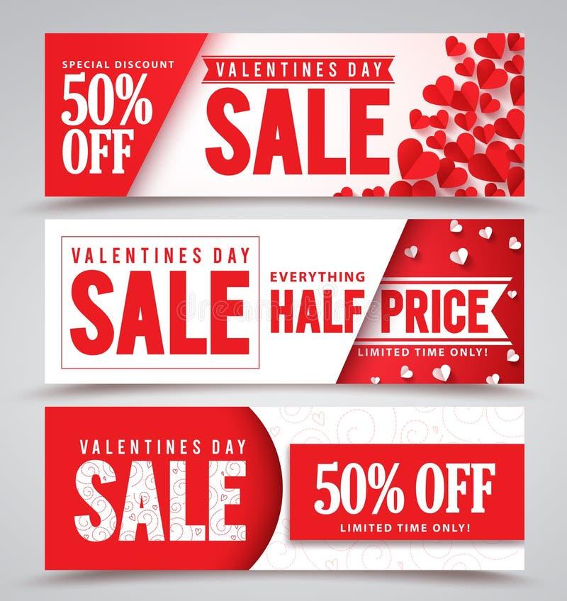 Bannières de vecteur de vente de jour de valentines avec différentes conceptions illustration de vecteur