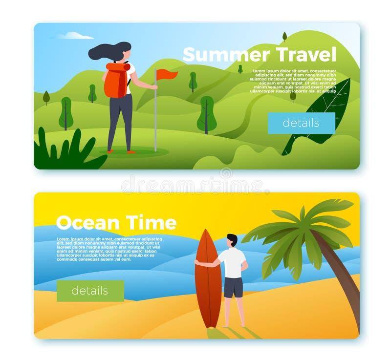Bannières de vecteur - fille trimardant, homme avec la planche de surf illustration de vecteur