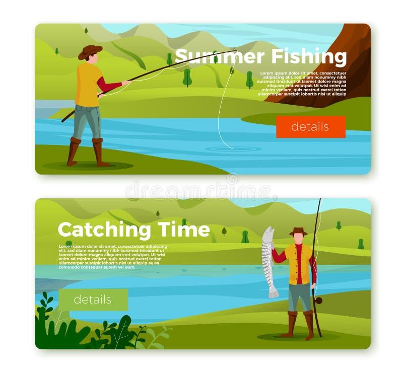 Bannières de vecteur - pêcheur sur la rivière avec la tige, proie illustration stock