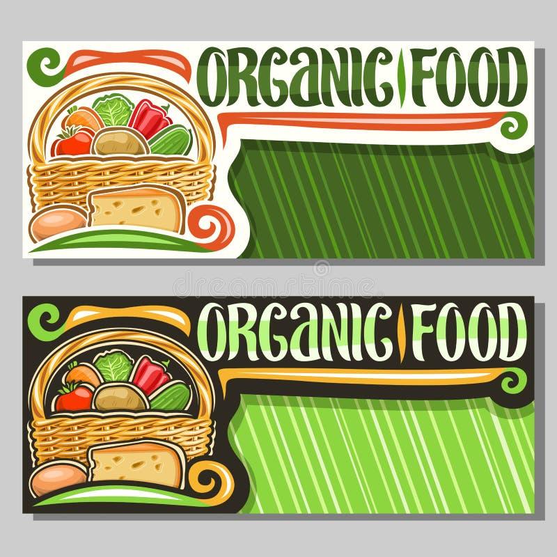 Bannières de vecteur pour l'aliment biologique illustration libre de droits