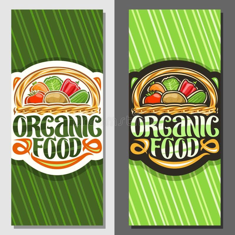 Bannières de vecteur pour l'aliment biologique illustration stock