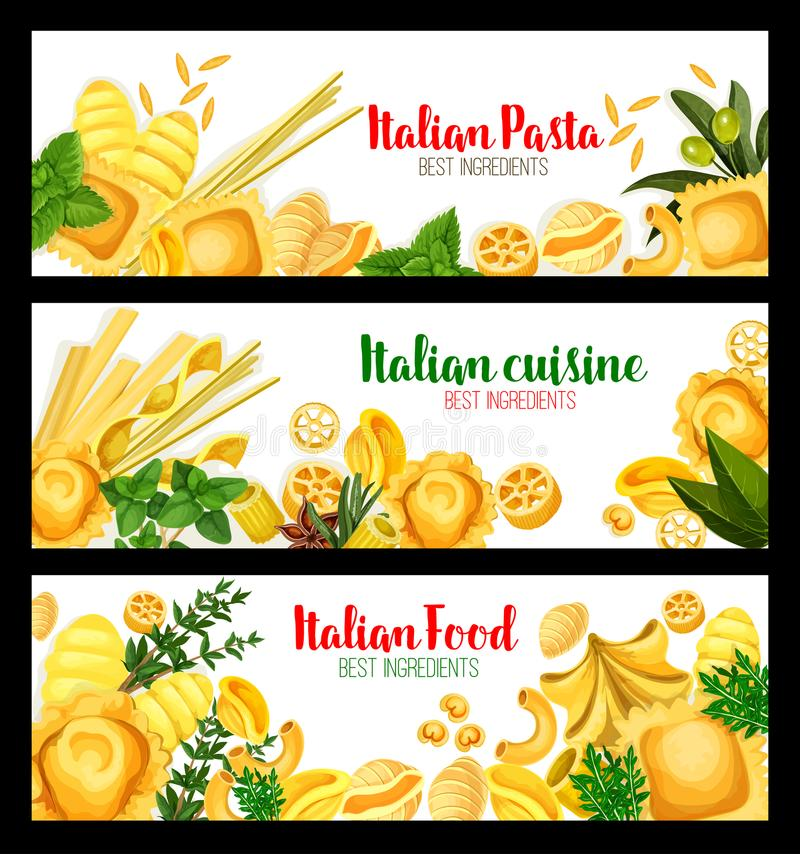 Bannières de vecteur pour la cuisine italienne de pâtes illustration stock