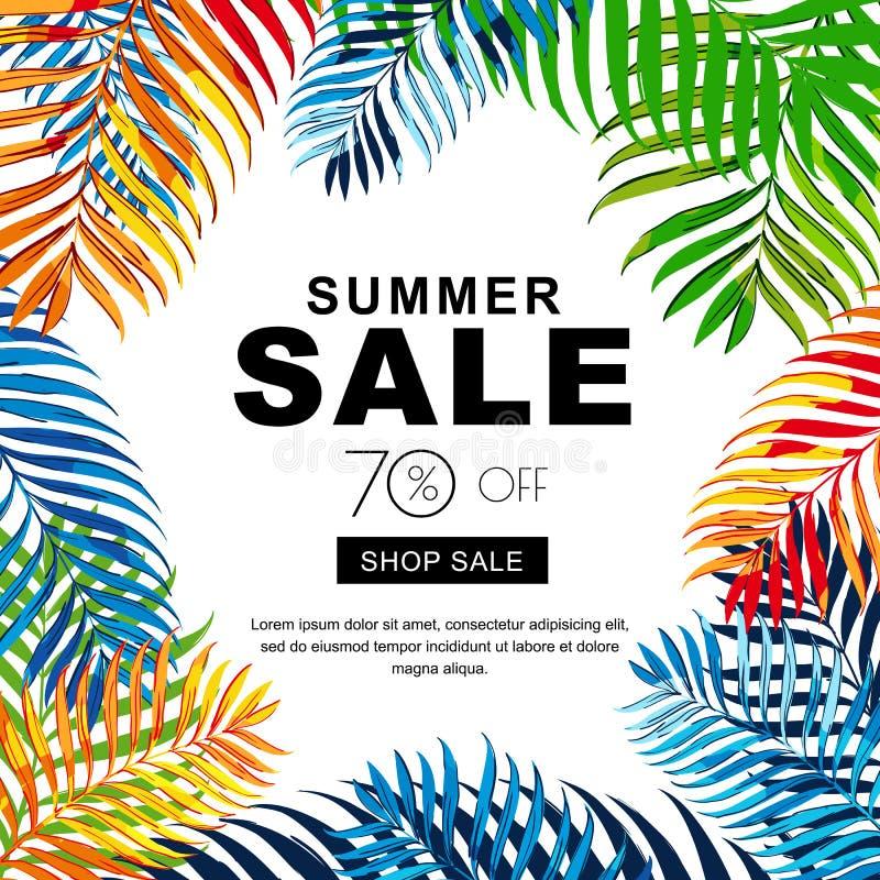Bannières de vente d'été avec les palmettes multicolores de noix de coco Fond tropical d'affiche de vecteur illustration libre de droits