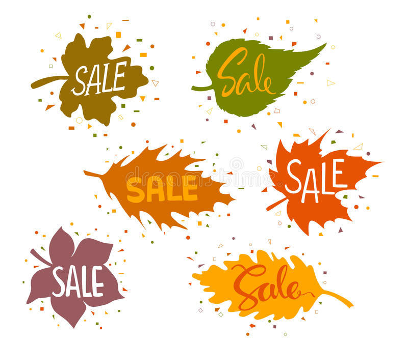 Bannières de vente dans les formes des feuilles d'automne de forêt avec les confettis géométriques illustration stock
