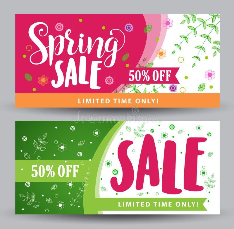 Bannières de vente de ressort avec différentes conceptions colorées illustration de vecteur