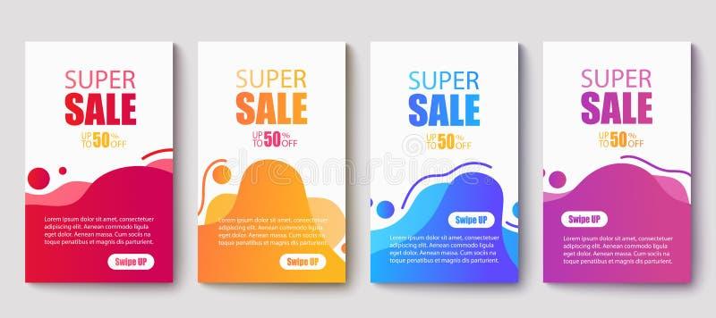 Bannières de vente de fluides modernes et dynamiques Modèle de bannière de vente Illustration vectorielle illustration de vecteur
