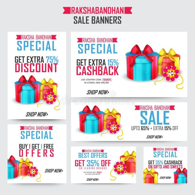 Bannières de vente pour la célébration de Raksha Bandhan illustration stock