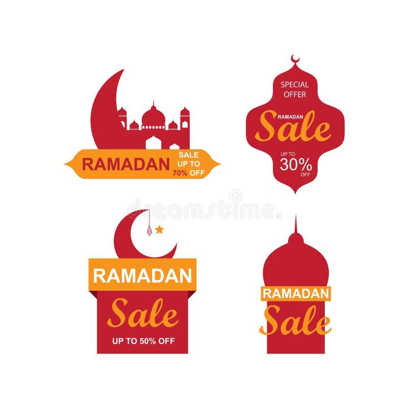 Bannières de vente de Ramadan ensemble, remise et meilleur étiquette d'offre, label ou autocollant réglés occasionnellement de Ra illustration libre de droits